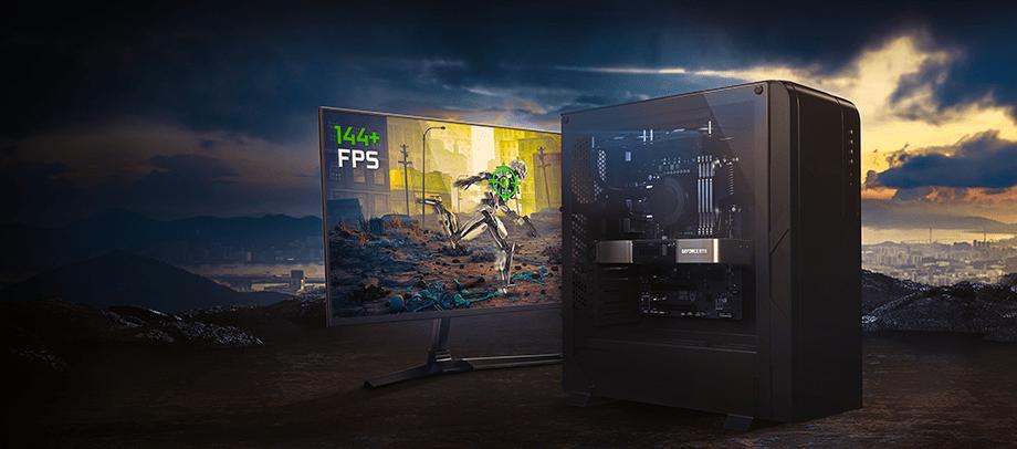компьютер и монитором с частотой обновления экрана 144+ FPS